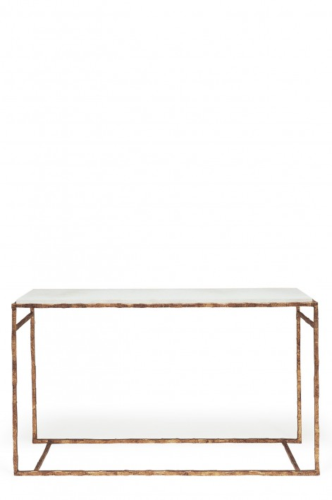Large Giacometti Console Table | Versailles Gold with Faux Limestone top