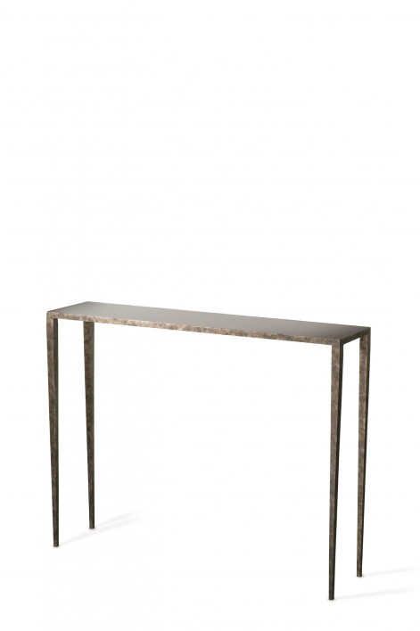 Small Salvatore Console Table | Burnt Silver with Black Glass top