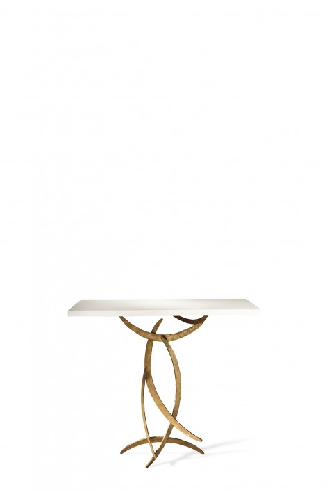 Miro Console Table | French Brass with Faux Limestone top
