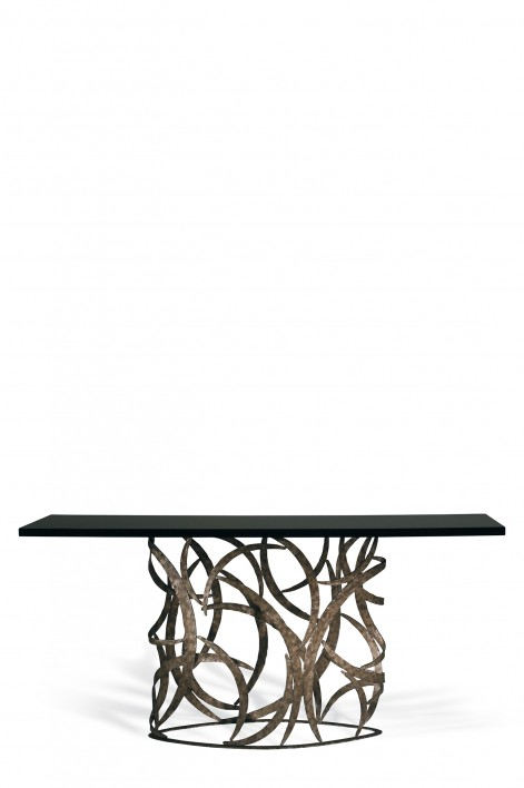 Elliptical Miro Console Table | Burnt Silver with Black Lacquer top