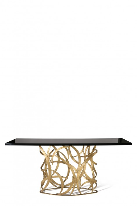 Elliptical Miro Console Table | French Brass with Black Lacquer top