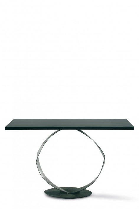 O Console Table | Bronzed with Black Lacquer top