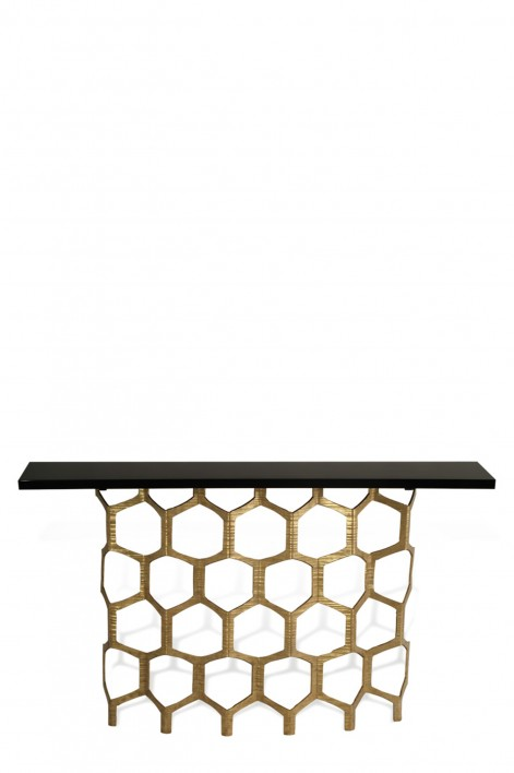 Honeycomb Console Table | Decayed Gold with Black Lacquer top
