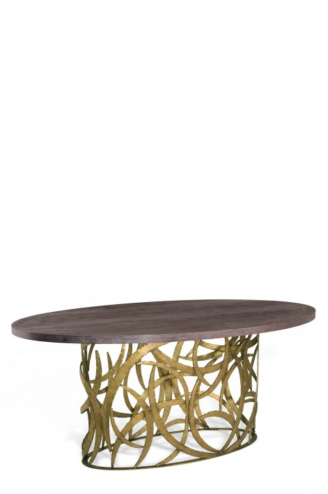 Elliptical Miro Dining Table | French Brass with Limed Oak top