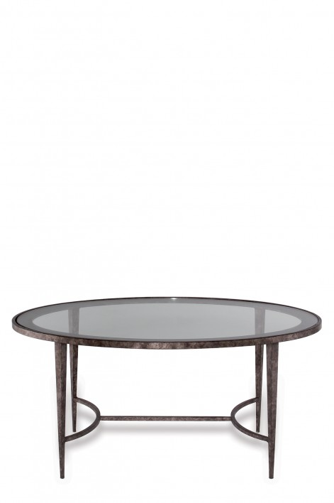 Large Salvatore Oval Coffee Table | Burnt Silver with Clear Glass top