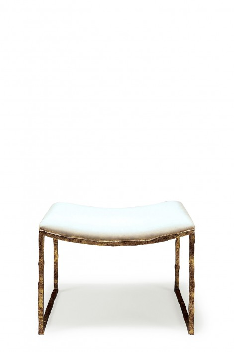 Giacometti Stool | Versailles Gold with COM Covered Seat Pad