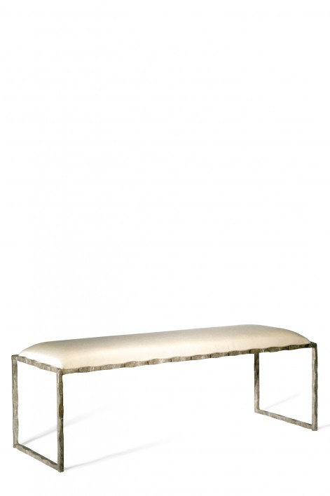Giacometti Bench   Burnt Silver with COM Silk Covered Seat Pad