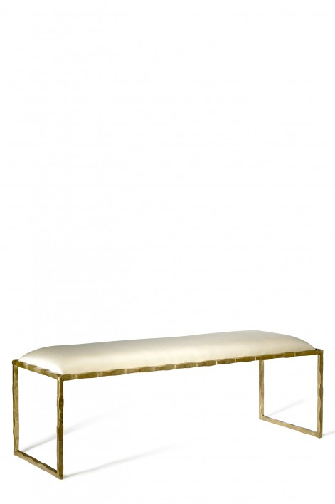 Giacometti Bench | Versailles Gold with silk covered seat pad