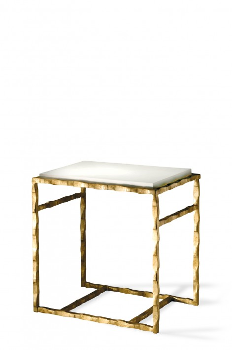 Giacometti Side Table   Versailles Gold with Faux Limestone top