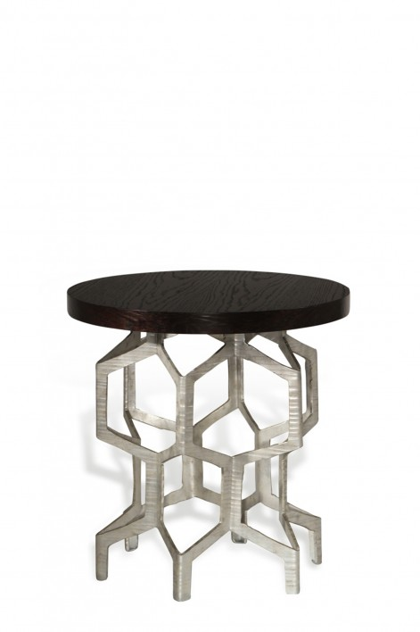 Honeycomb Side Table | Decayed Silver with Dark Fumed Oak top