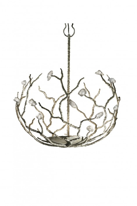 Large Blossom Chandelier | Decayed Silver with Glass detail