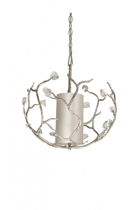 Small Blossom Chandelier with Shade | Decayed Silver with Glass detail