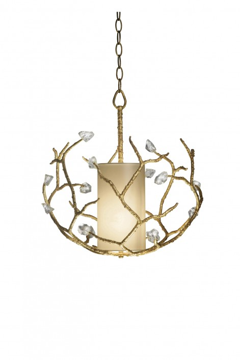 Small Blossom Chandelier with Shade | White Gold with Glass detail