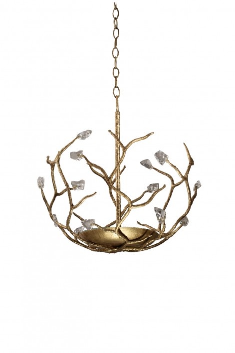Small Blossom Chandelier without Shade | White Gold with Glass detail