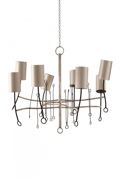 Short Lollipop Chandelier | Scratched Silver with Fired Copper