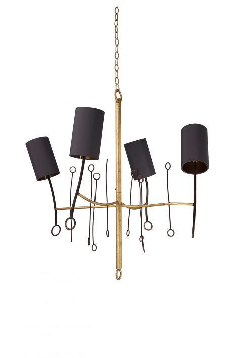 Extra Small Lollipop Chandelier | Scratched Gold with Fired Copper