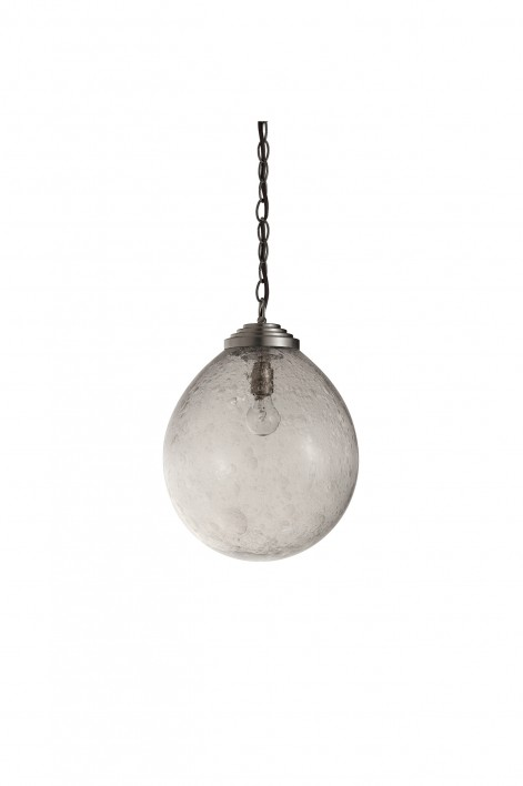 Large Orb Pendant   Clear with Bright Silver