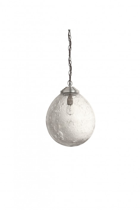 Medium Orb Pendant   Clear with Bright Silver