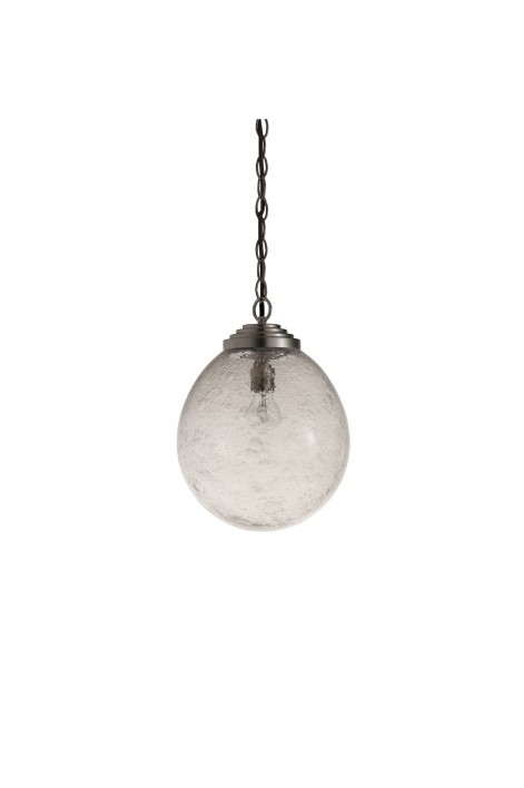 Small Orb Pendant   Clear with Bright Silver