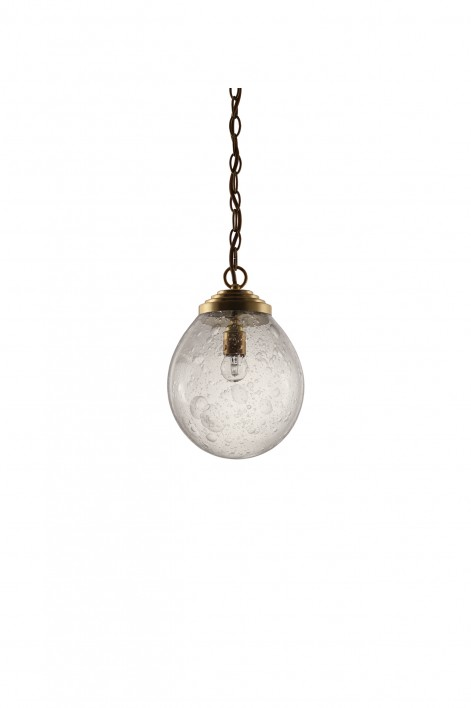 Small Orb Pendant   Clear with Bright Gold