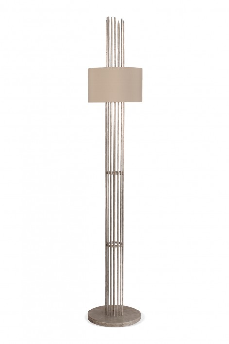 Flynn Caged Floor Lamp | Decayed Silver
