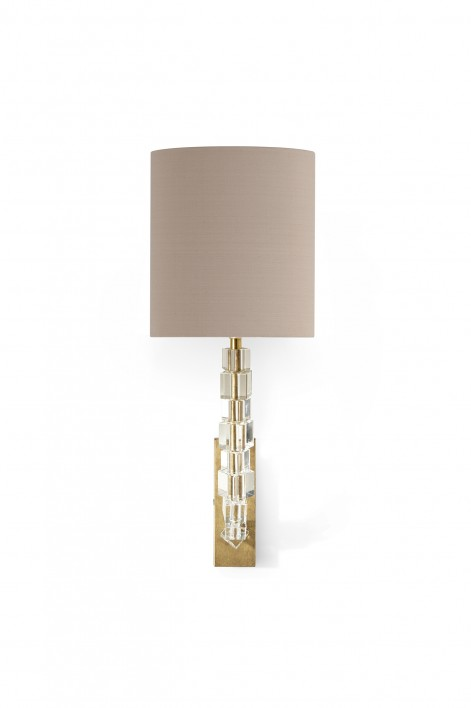 Small Lartigue Wall Light | Clear crystal with French Brass