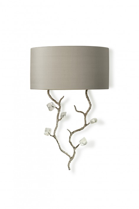 Trailing Blossom Wall Light   Decayed Silver with Glass detail