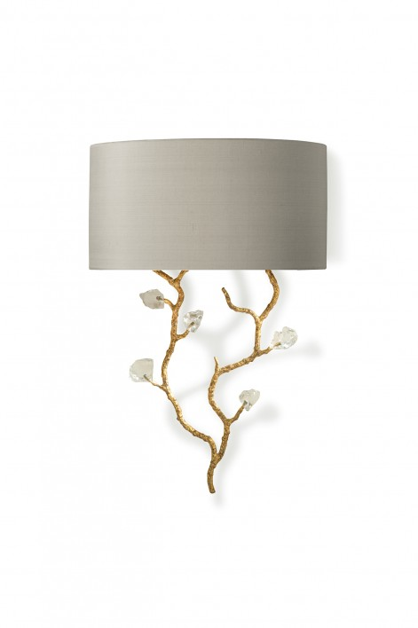 Trailing Blossom Wall Light | White Gold with Glass detail