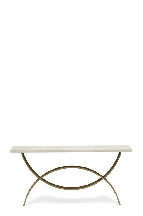 Small Fishtail Console Table | Fishtail Silver with Faux Limestone top