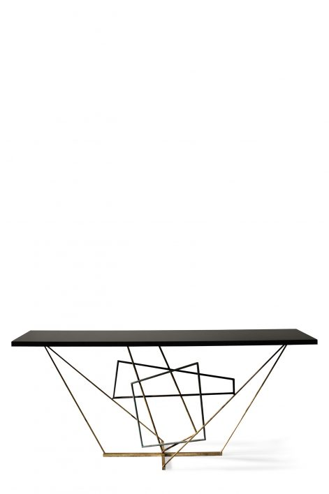 Rhomboid Console Table | Verdigris, Scratched Gold and Fired Copper with Black Lacquer top
